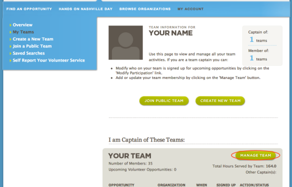 Image of Manage Team page at HON.org