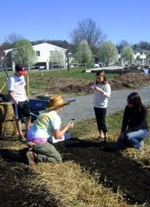 Allison teaches kids about garlic at the BELL gardens.