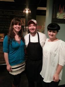 Chef Galzin, his wife Caroline, and Jackalope Brewmaster Bailey at the last pop-up dinner in November.