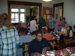 Dinner at Dismas House is a popular volunteer opportunity where people help cook dinner for the Dismas community and exchange uplifting words.