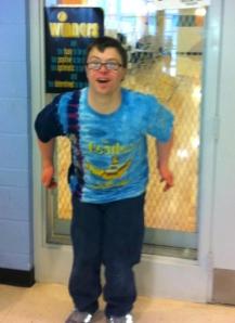 Adam getting ready for an aerobics class to begin.