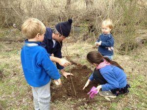 A group of volunteers plants trees along a stream at Glen Leven Farm.