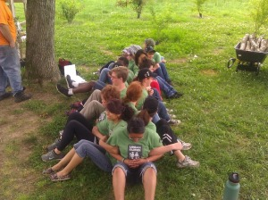 Hands On Nashville Urban Farm Apprentices during their training last week doing a team-building exercise.