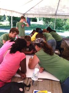 Apprentices lead Crop City participants through a brainstorming game.