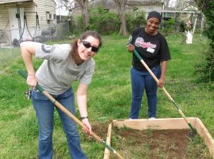 Volunteers building a new garden for Ms. Starnes