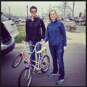 Jerilyn drops off her childhood bike.