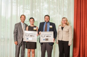 Lauren Levy (center left) and Dean Graber (center right) accepted the Hands On Nashville Volunteer Award Presented by TVA, and received the Daily Points of Light Award for April 22 and 23, respectively. Amy G. Arnold-Martin is pictured far right.