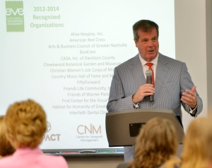 Mayor Dean speaks to representatives from nonprofit organizations who received certification in the Excellence in Volunteer Engagement program