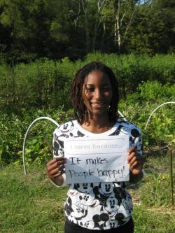 """I serve because it makes people happy!"" Destiny Rainer, HON Urban Agriculture Intern"