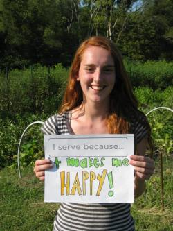"""I serve because it makes me happy!"" - Emily Dunn, HON Urban Agriculture Intern"