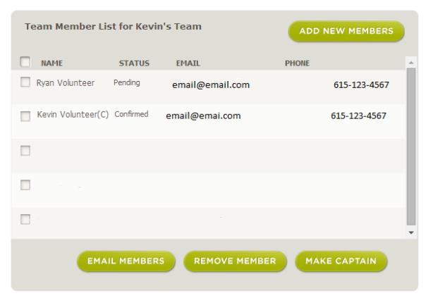 Image of Emailing Team Members Page at HON.org