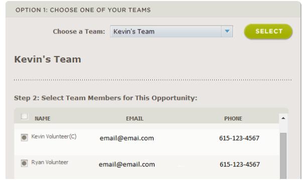 Image of Selecting Teammates Page at HON.org