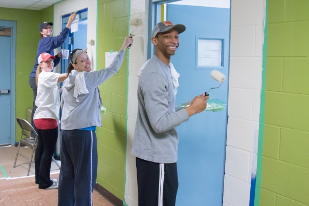 Volunteers paint the halls at Cleveland Community Center in east Nashville on Saturday, Jan. 17 in celebration of the MLK Days of Service with Hands On Nashville.