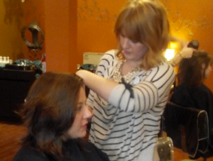 Salon Nfuse stylist beautifies clients at the Salon Nfuse Cut-A-Thon.