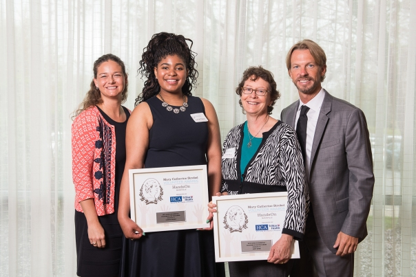 Hands On Nashville's Volunteer of the Year Award Recipients Camryn Magsby (center left) and Andy Myers (center right)  along with Hands On Nashville's President and CEO Brian Williams (far left) and Tina Hodges with Advance Financial