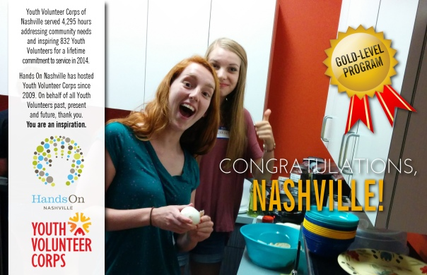 Hands On Nashville's Youth Volunteer Corp was named a Gold Level Aff