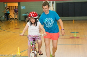 Walk/Bike Nashville organizes a bike rodeo for young riders at Hands On Nashville's ReCYCLE for Kids Giveaway event at Kirkpatrick Community Center on May 17, 2015.
